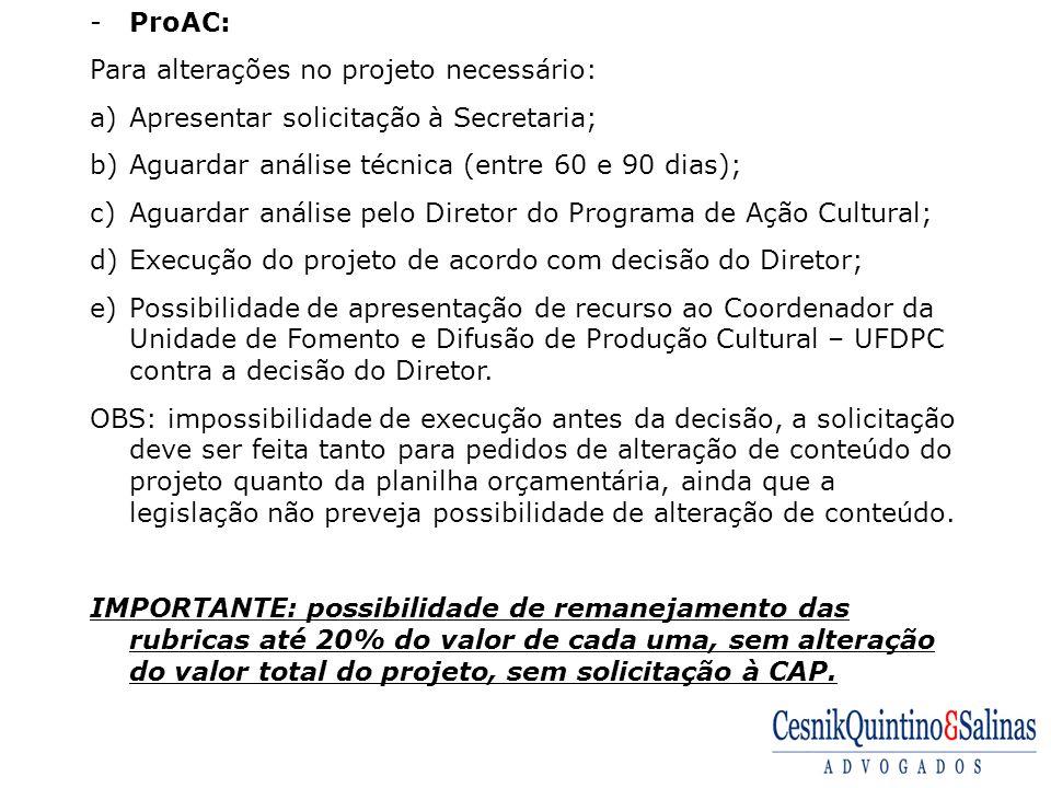 ProAC: Para alterações no projeto necessário: Apresentar solicitação à Secretaria; Aguardar análise técnica (entre 60 e 90 dias);