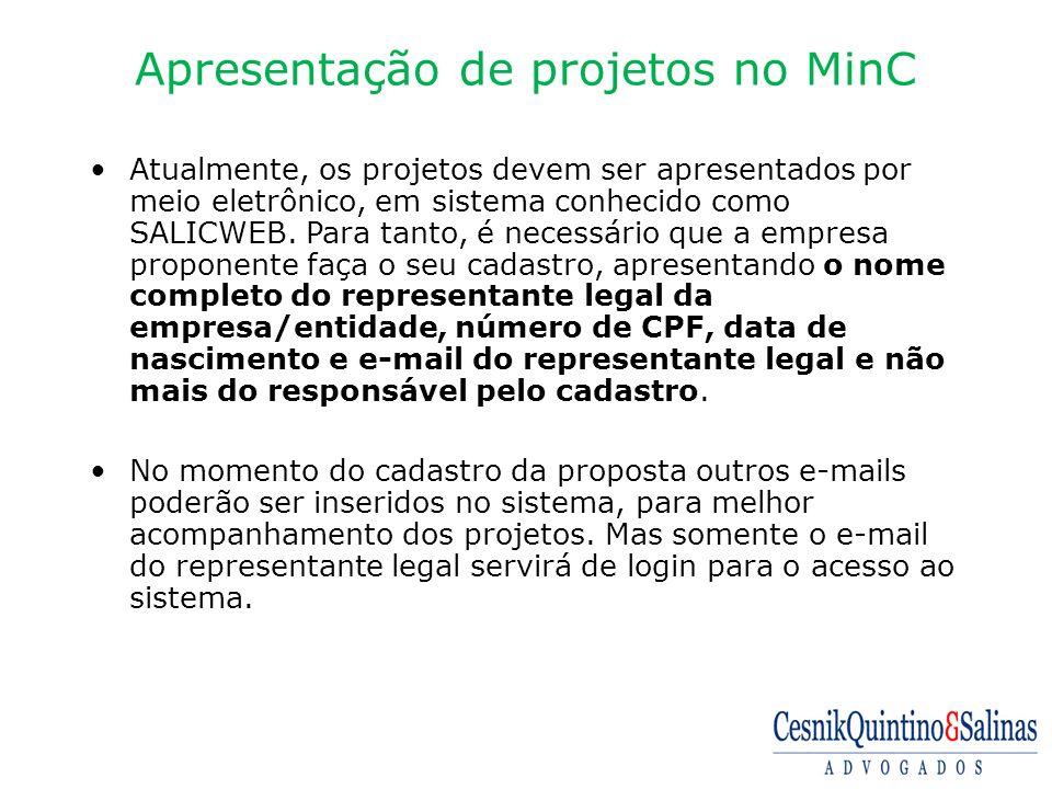 Apresentação de projetos no MinC