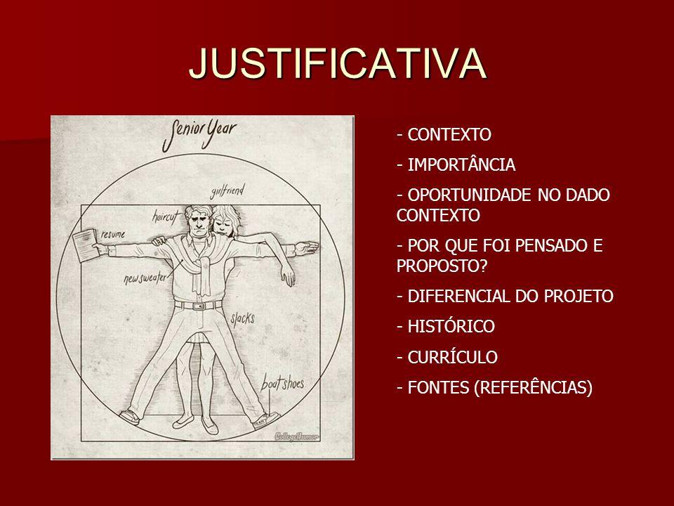 JUSTIFICATIVA CONTEXTO IMPORTÂNCIA OPORTUNIDADE NO DADO CONTEXTO