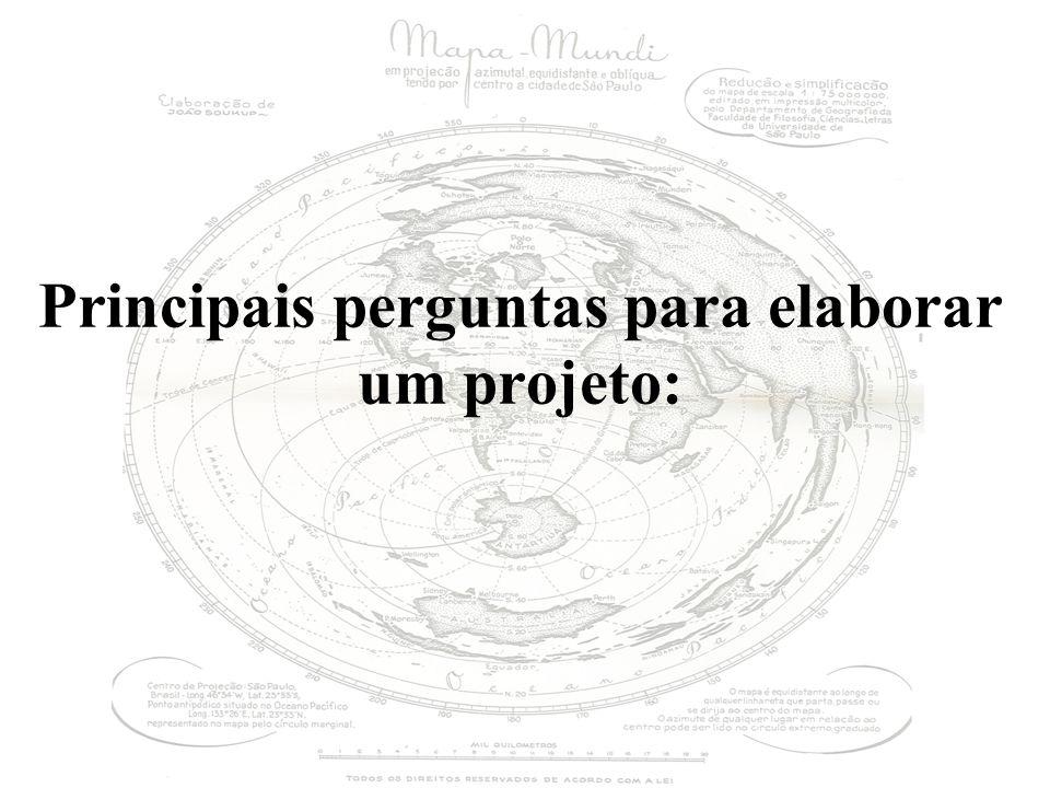 Principais perguntas para elaborar um projeto: