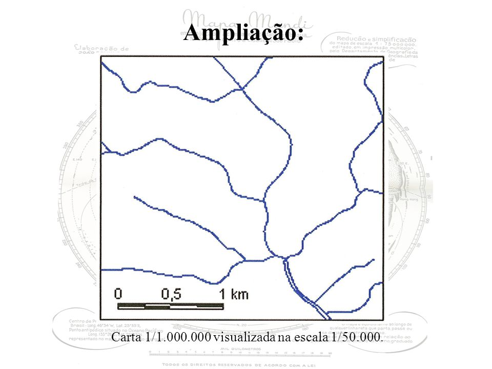 Ampliação: Carta 1/1.000.000 visualizada na escala 1/50.000.