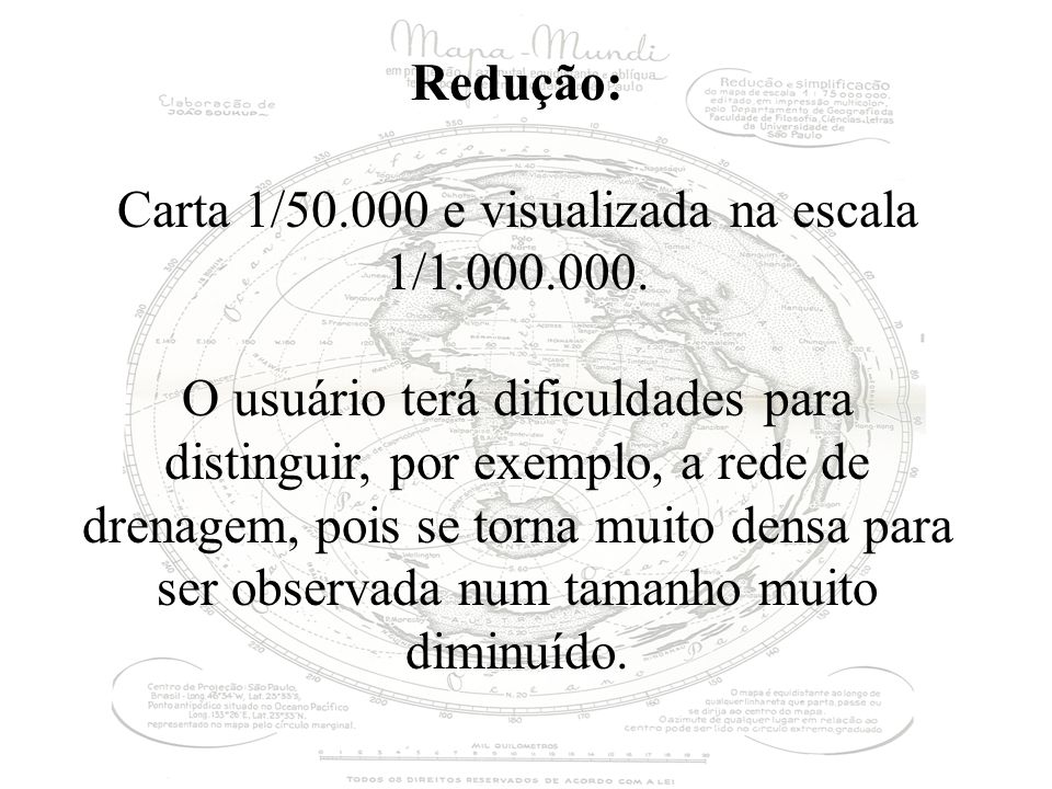 Carta 1/50.000 e visualizada na escala 1/1.000.000.
