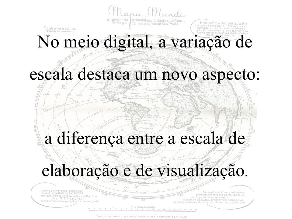 No meio digital, a variação de escala destaca um novo aspecto: