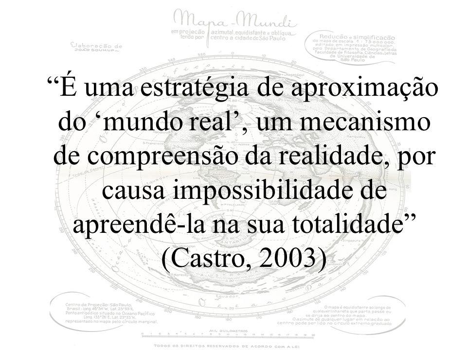 É uma estratégia de aproximação do 'mundo real', um mecanismo de compreensão da realidade, por causa impossibilidade de apreendê-la na sua totalidade (Castro, 2003)