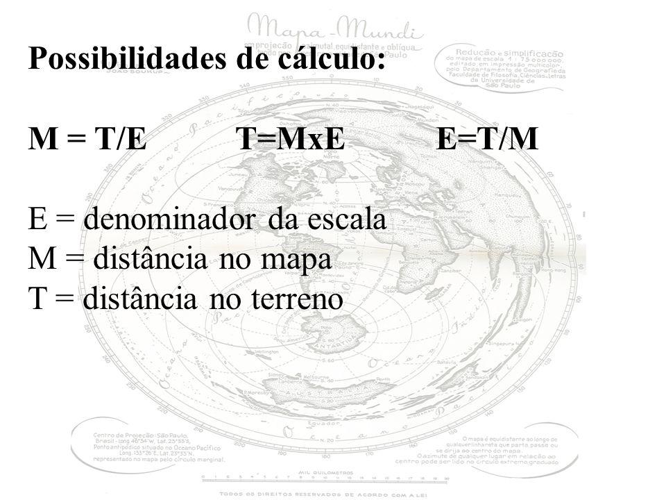 Possibilidades de cálculo: