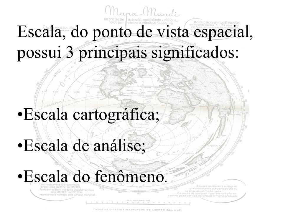 Escala, do ponto de vista espacial, possui 3 principais significados: