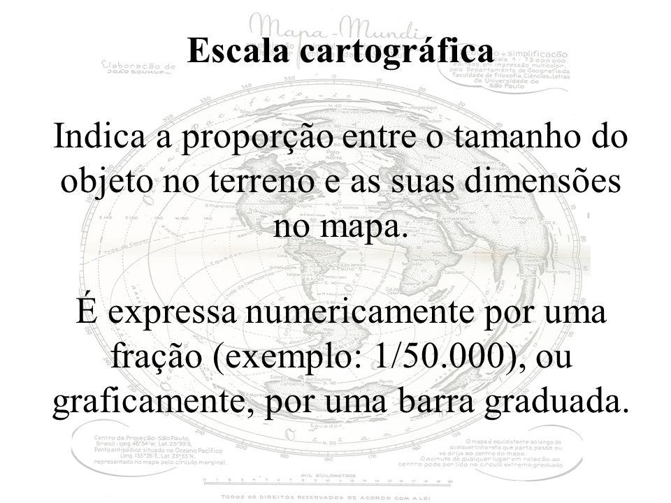 Escala cartográfica Indica a proporção entre o tamanho do objeto no terreno e as suas dimensões no mapa.