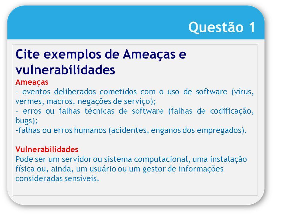 Questão 1 Cite exemplos de Ameaças e vulnerabilidades Ameaças