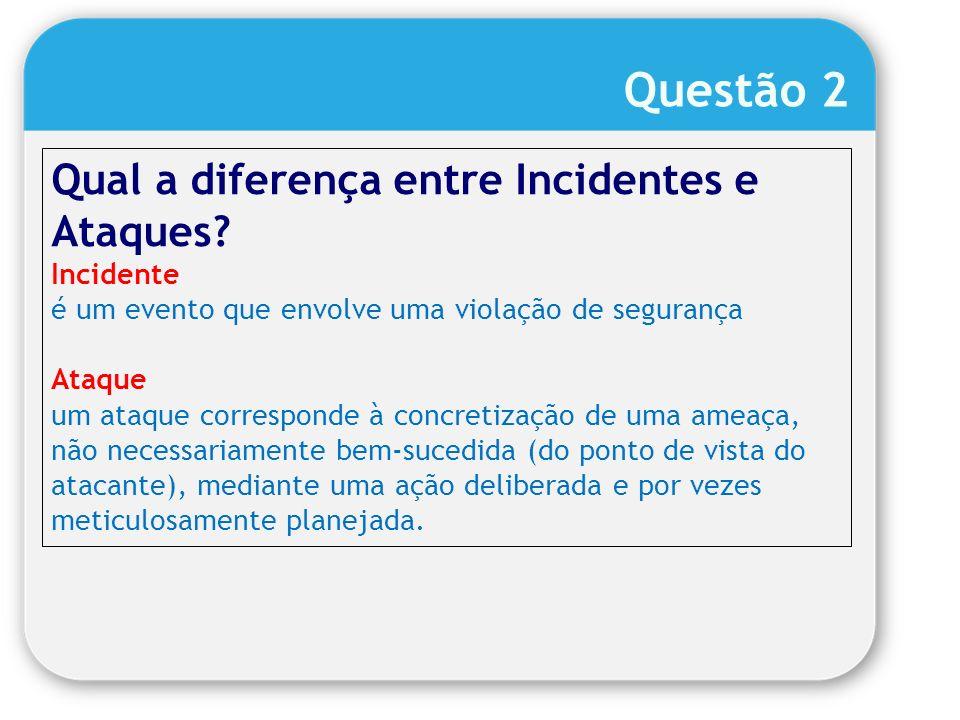 Questão 2 Qual a diferença entre Incidentes e Ataques Incidente