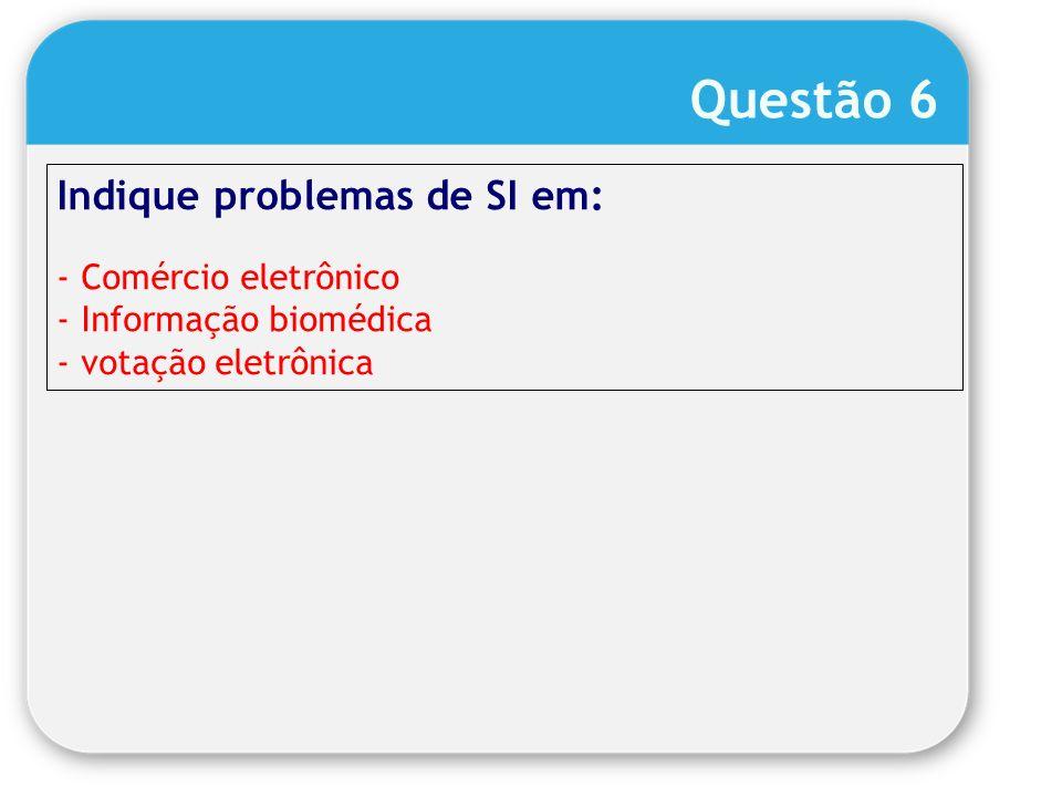 Questão 6 Indique problemas de SI em: Comércio eletrônico
