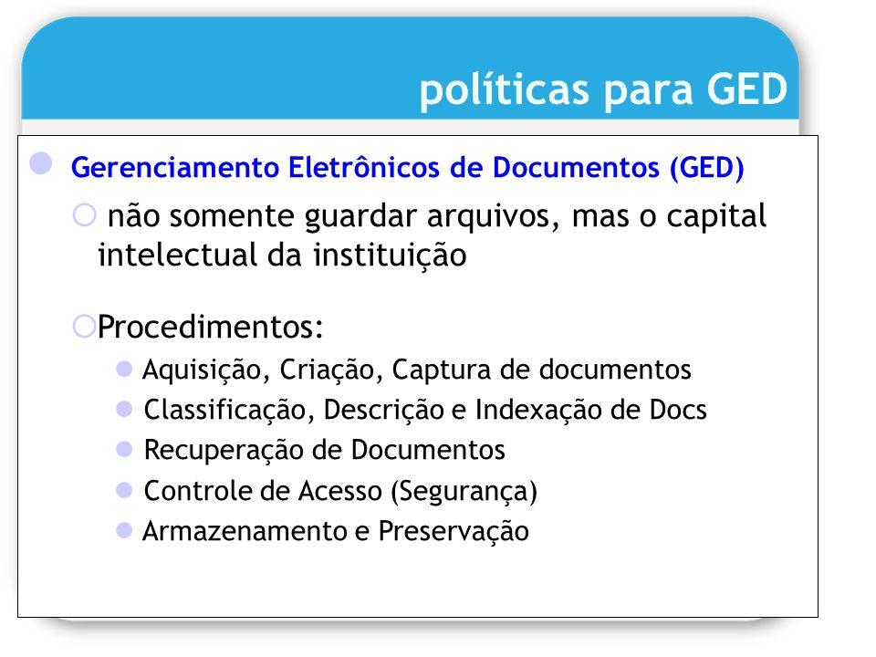 políticas para GED Gerenciamento Eletrônicos de Documentos (GED)