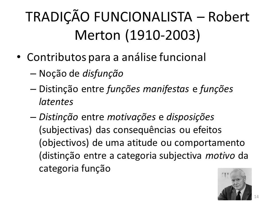 TRADIÇÃO FUNCIONALISTA – Robert Merton (1910-2003)