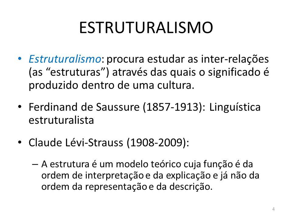 ESTRUTURALISMOEstruturalismo: procura estudar as inter-relações (as estruturas ) através das quais o significado é produzido dentro de uma cultura.