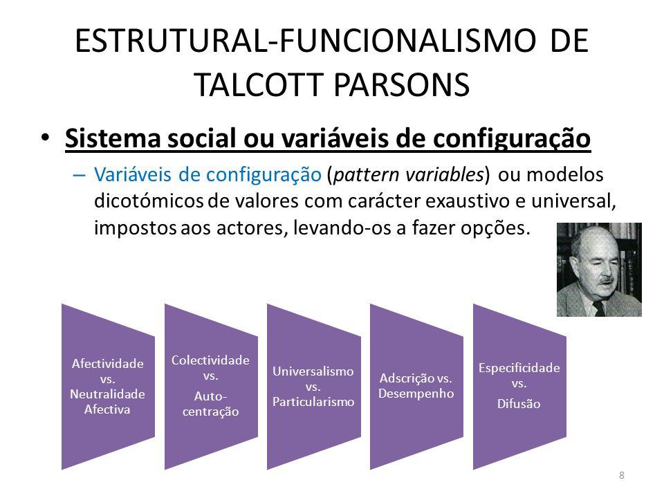 ESTRUTURAL-FUNCIONALISMO DE TALCOTT PARSONS