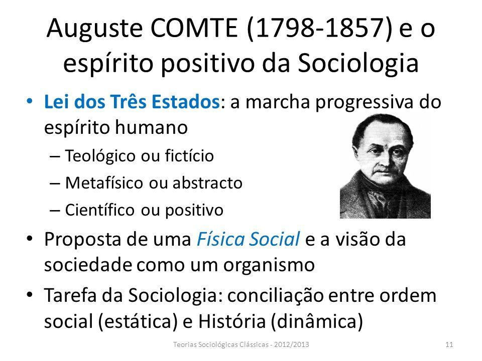 Auguste COMTE (1798-1857) e o espírito positivo da Sociologia