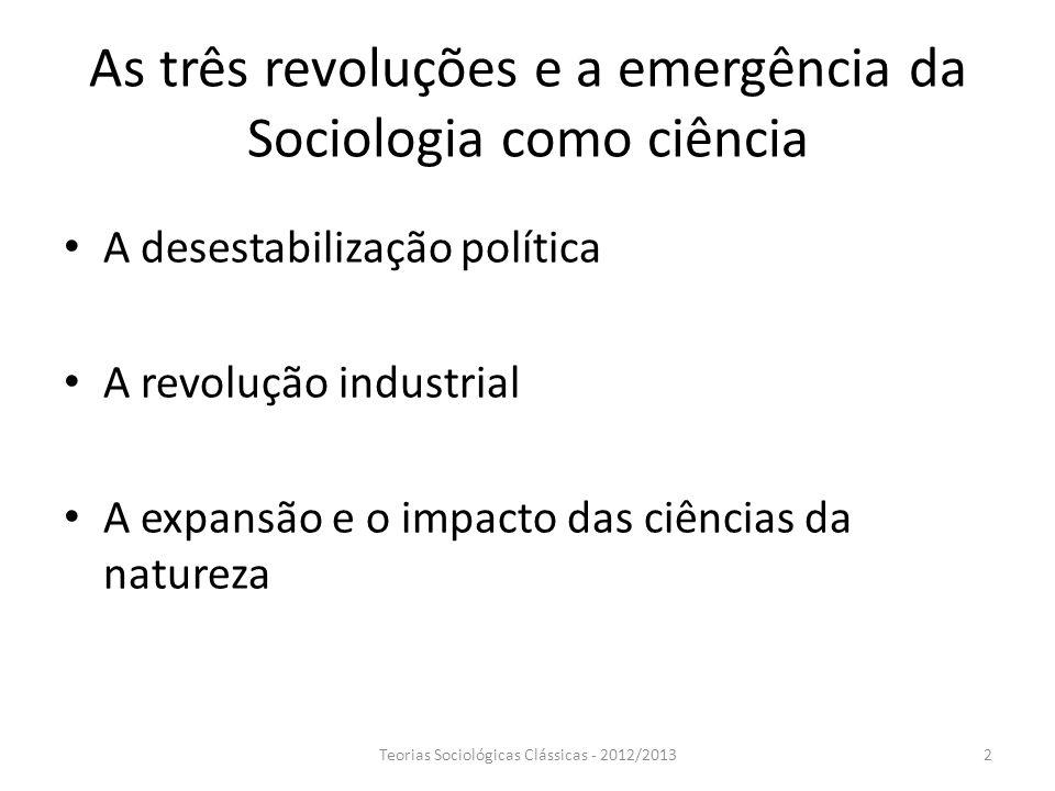 As três revoluções e a emergência da Sociologia como ciência