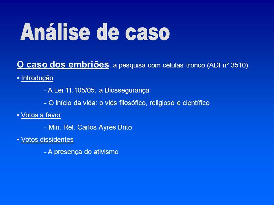 Análise de caso O caso dos embriões: a pesquisa com células tronco (ADI n° 3510) Introdução. - A Lei 11.105/05: a Biossegurança.