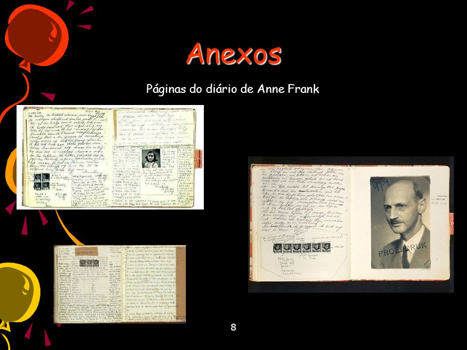 Anexos Páginas do diário de Anne Frank 8