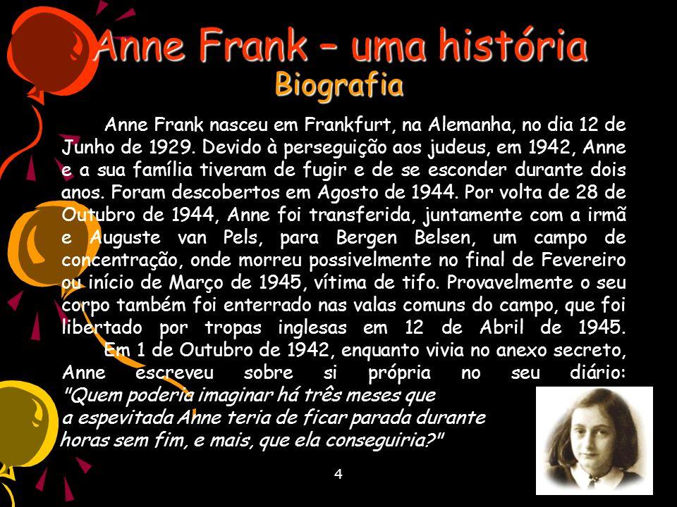 Anne Frank – uma história Biografia