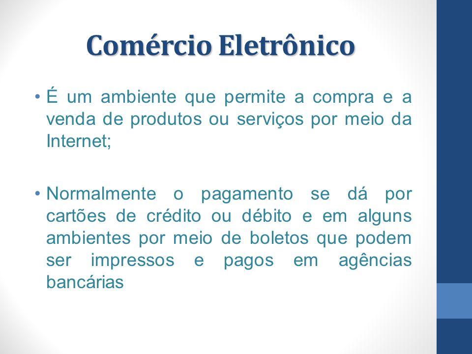 Comércio Eletrônico É um ambiente que permite a compra e a venda de produtos ou serviços por meio da Internet;