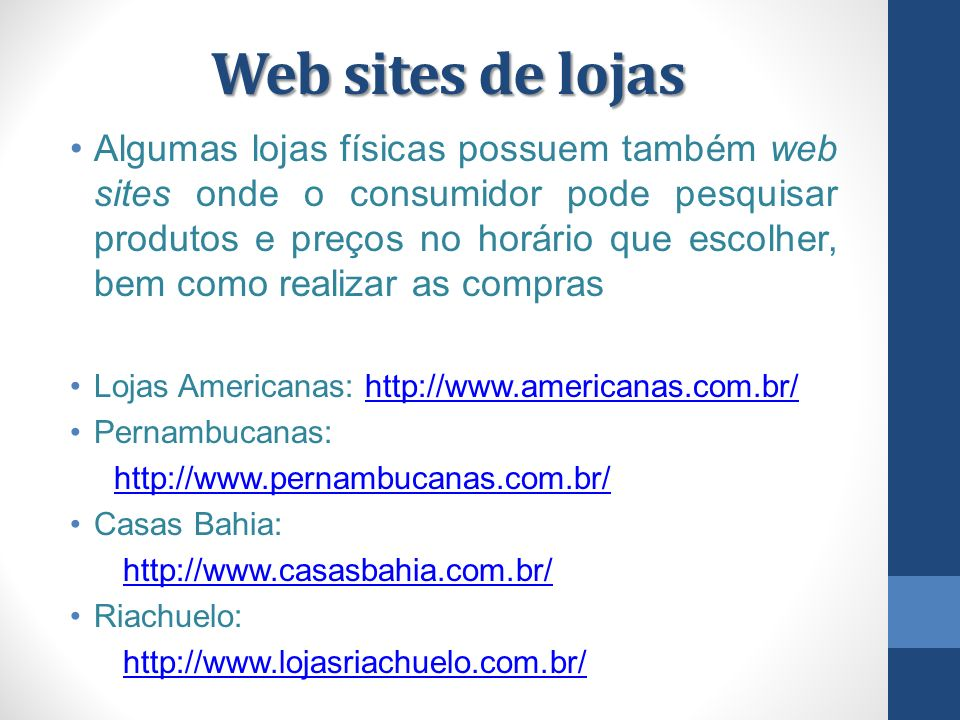 Web sites de lojas