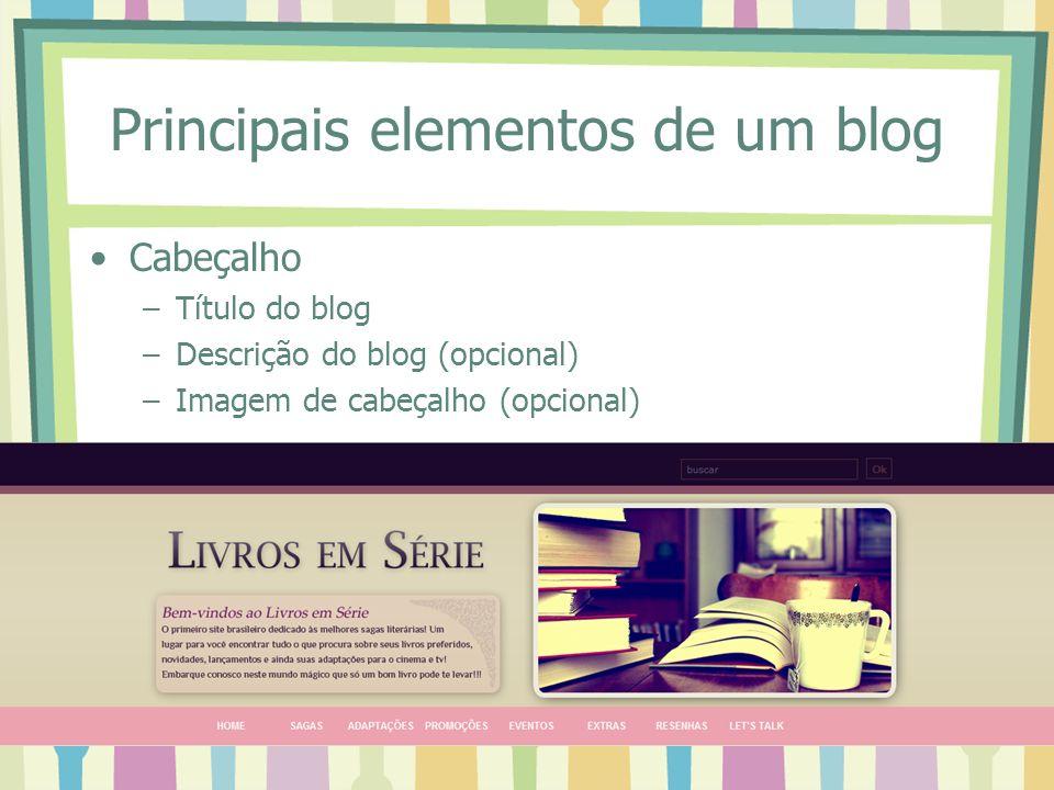 Principais elementos de um blog