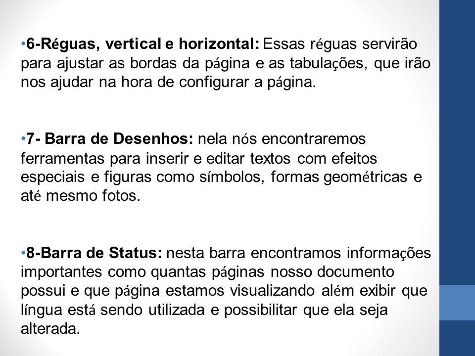6-Réguas, vertical e horizontal: Essas réguas servirão para ajustar as bordas da página e as tabulações, que irão nos ajudar na hora de configurar a página.
