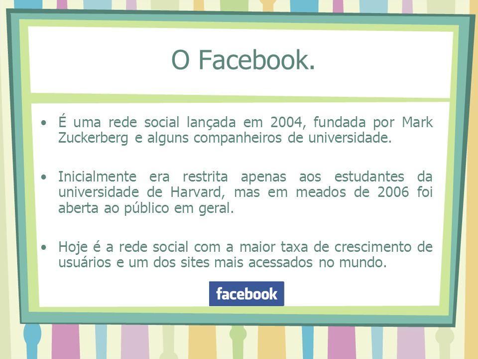 O Facebook. É uma rede social lançada em 2004, fundada por Mark Zuckerberg e alguns companheiros de universidade.