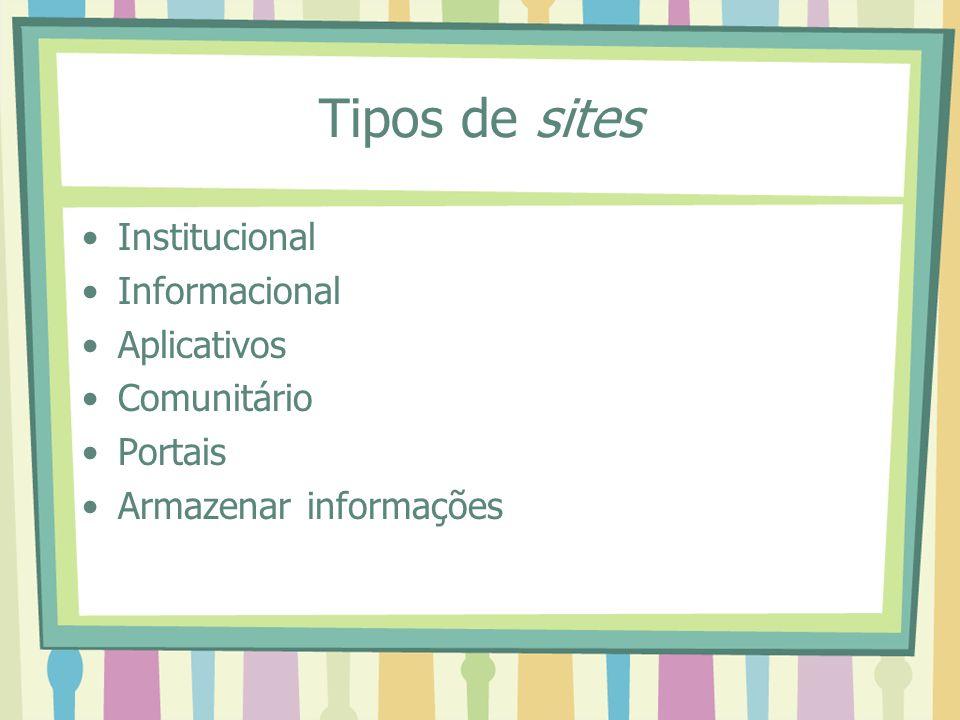 Tipos de sites Institucional Informacional Aplicativos Comunitário