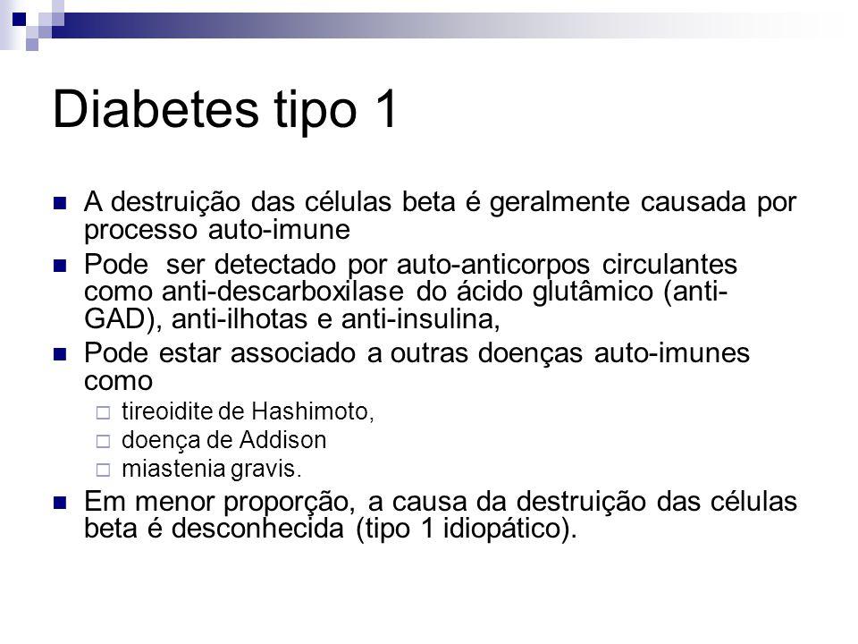 Diabetes tipo 1 A destruição das células beta é geralmente causada por processo auto-imune.