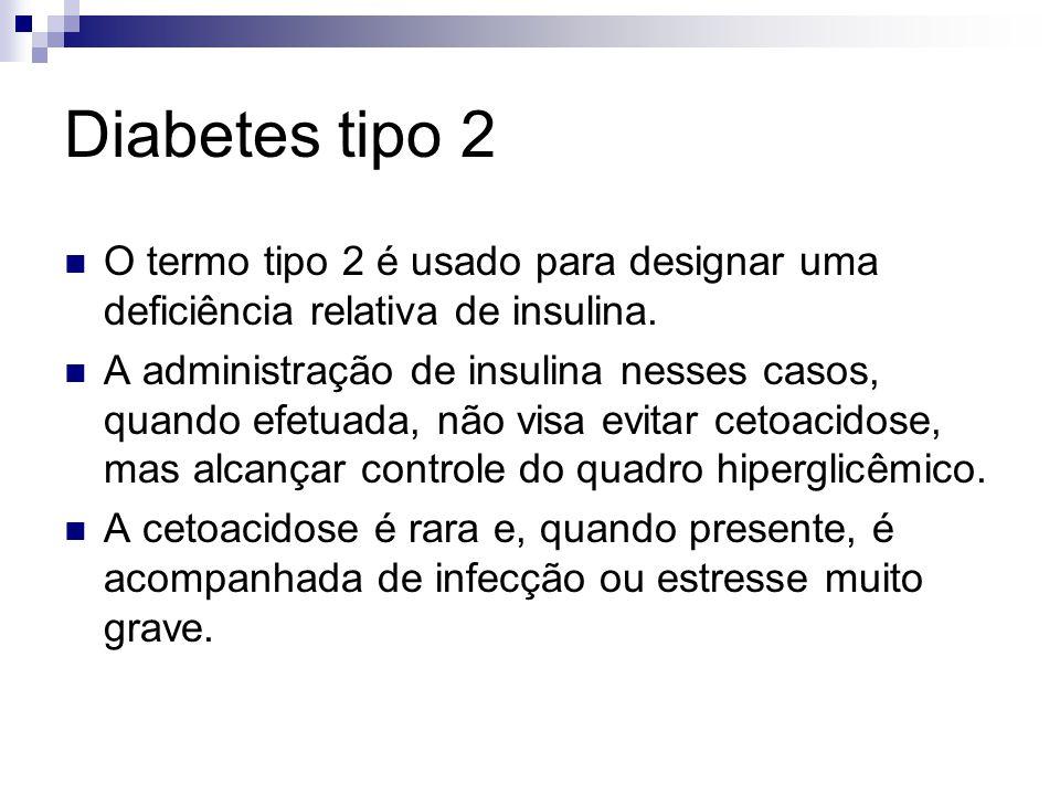 Diabetes tipo 2 O termo tipo 2 é usado para designar uma deficiência relativa de insulina.