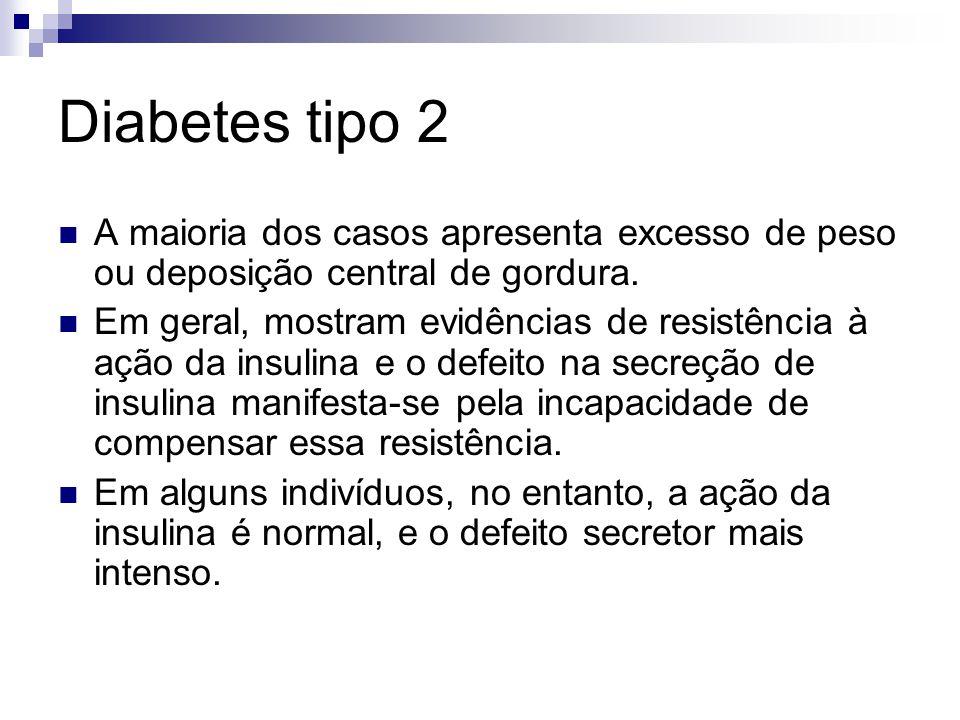 Diabetes tipo 2 A maioria dos casos apresenta excesso de peso ou deposição central de gordura.