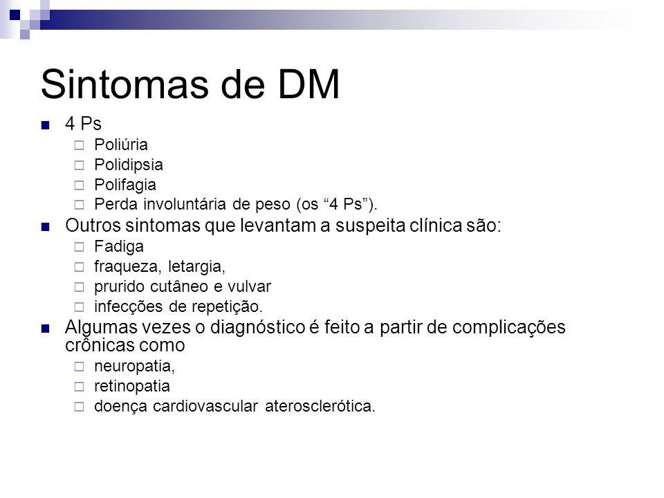 Sintomas de DM 4 Ps. Poliúria. Polidipsia. Polifagia. Perda involuntária de peso (os 4 Ps ).