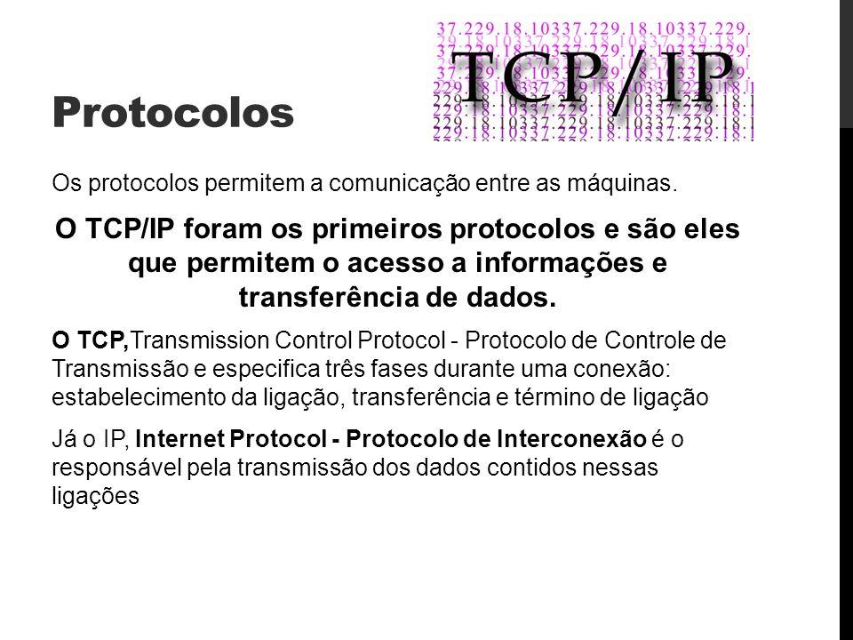 Protocolos Os protocolos permitem a comunicação entre as máquinas.