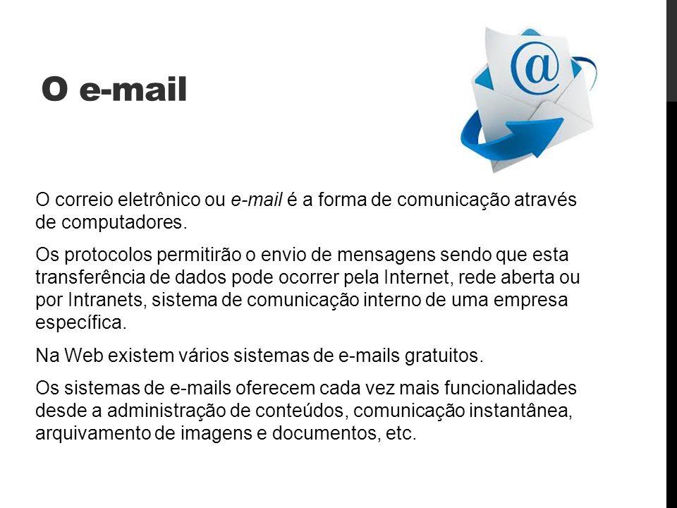 O e-mail O correio eletrônico ou e-mail é a forma de comunicação através de computadores.