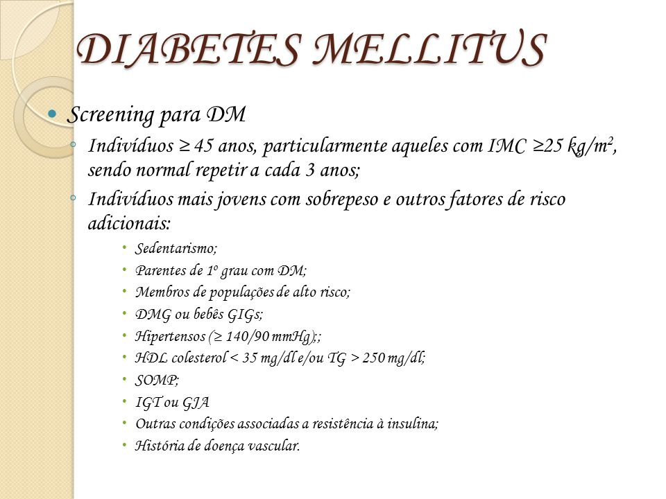 DIABETES MELLITUS Screening para DM