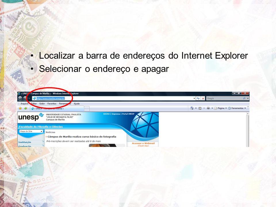 Localizar a barra de endereços do Internet Explorer