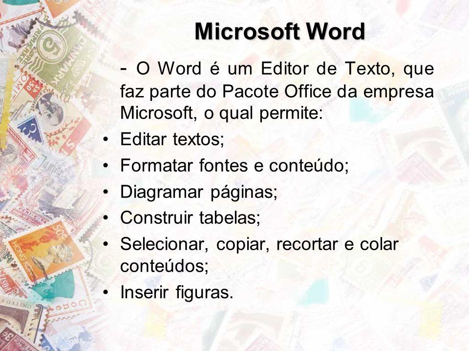 Microsoft Word Editar textos; Formatar fontes e conteúdo;