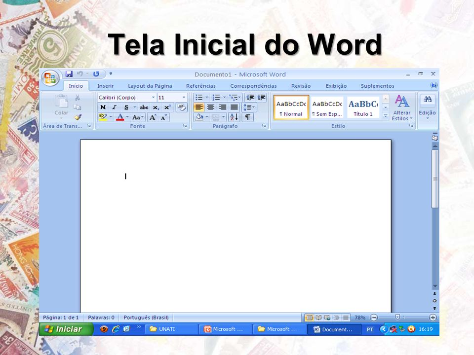 Tela Inicial do Word