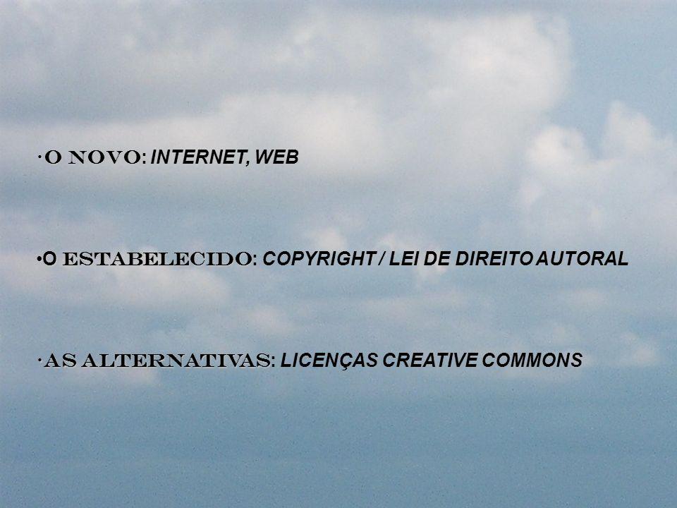 O NOVO: INTERNET, WEBO ESTABELECIDO: COPYRIGHT / LEI DE DIREITO AUTORAL.