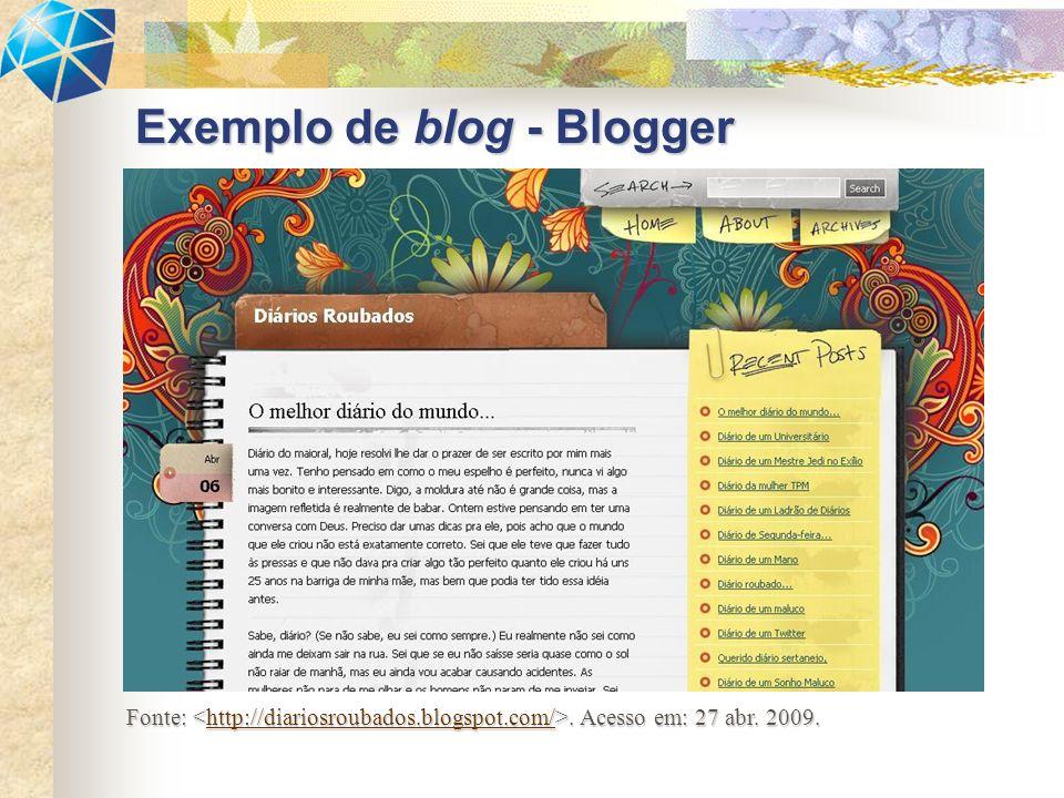 Exemplo de blog - Blogger