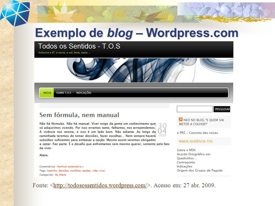 Exemplo de blog – Wordpress.com