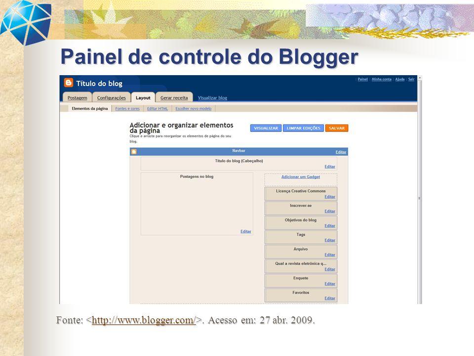 Painel de controle do Blogger