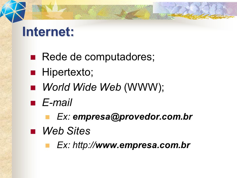 Internet: Rede de computadores; Hipertexto; World Wide Web (WWW);
