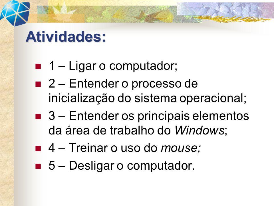 Atividades: 1 – Ligar o computador;