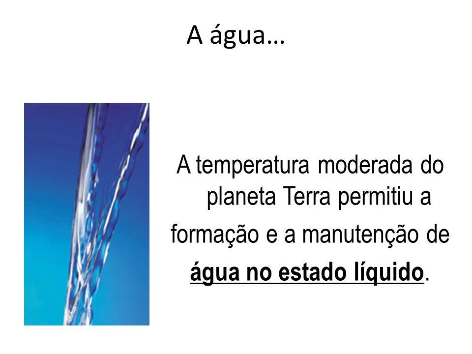 A água… A temperatura moderada do planeta Terra permitiu a