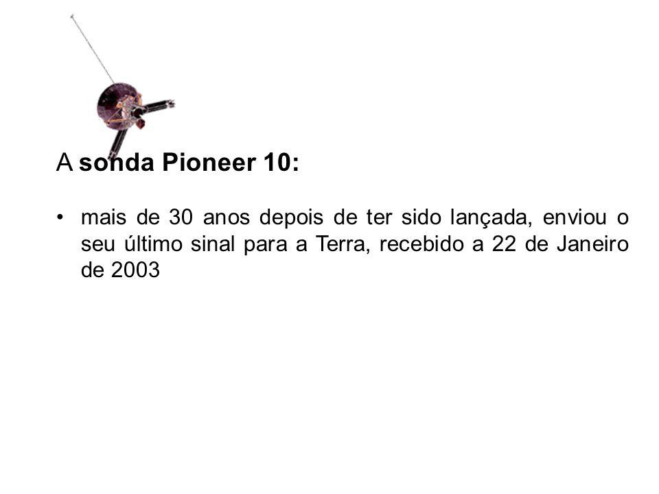 A sonda Pioneer 10: mais de 30 anos depois de ter sido lançada, enviou o seu último sinal para a Terra, recebido a 22 de Janeiro de 2003.