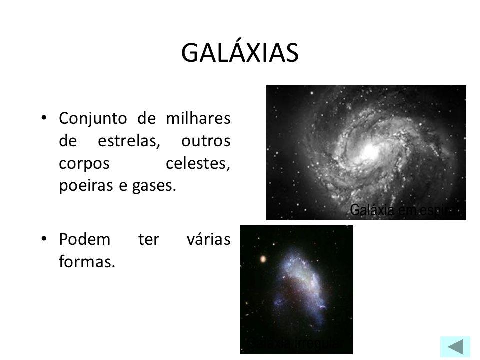 GALÁXIAS Galáxia em espiral. Conjunto de milhares de estrelas, outros corpos celestes, poeiras e gases.