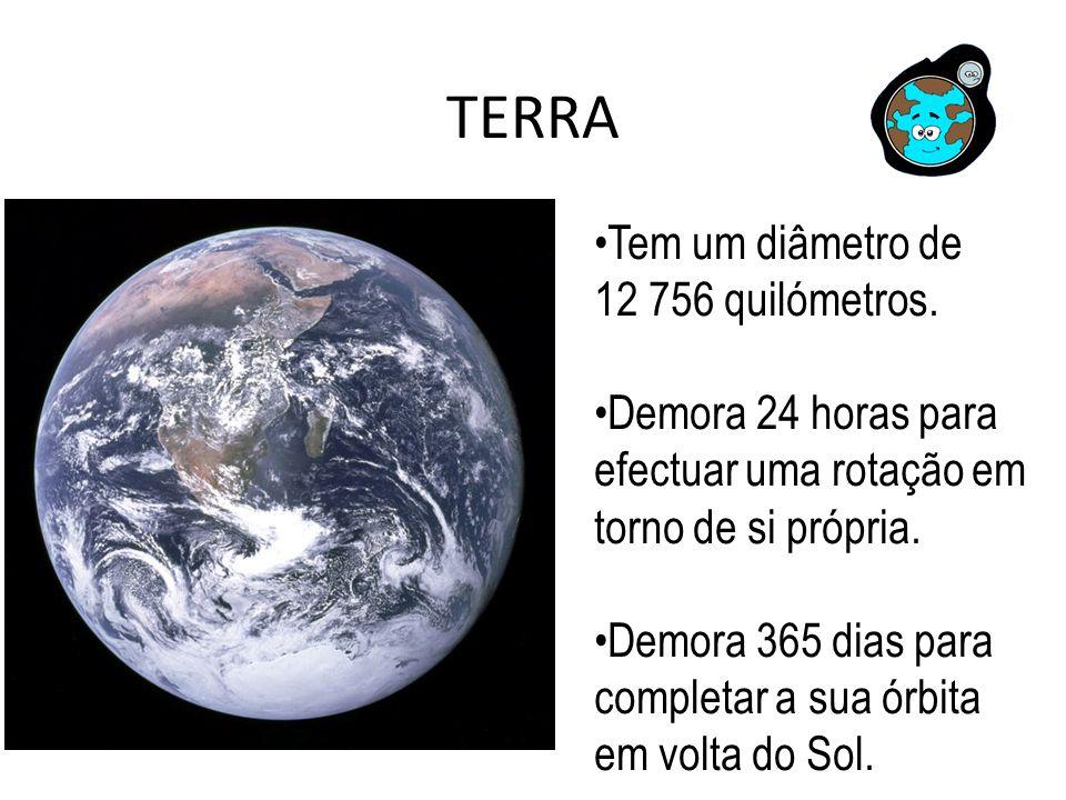 TERRA Tem um diâmetro de 12 756 quilómetros.