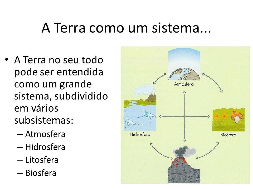 A Terra como um sistema... A Terra no seu todo pode ser entendida como um grande sistema, subdividido em vários subsistemas: